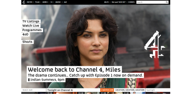 screenshot of channel 4 homepage