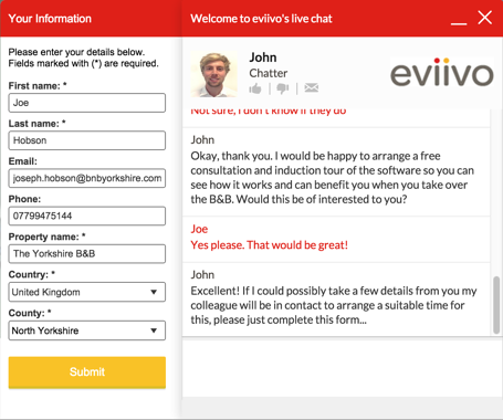 eviivo live chat window with form